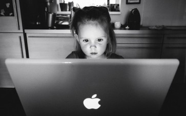 Girl and screen